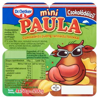 Dr. Oetker Paula Mini Chocolate Flavoured Pudding with Vanilla Flavoured Pudding 4 x 50 g