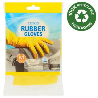 Tesco Rubber Gloves M Size 1 Pair