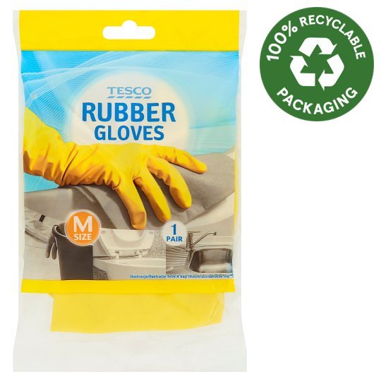 Tesco Rubber Gloves M Size 1 Pair