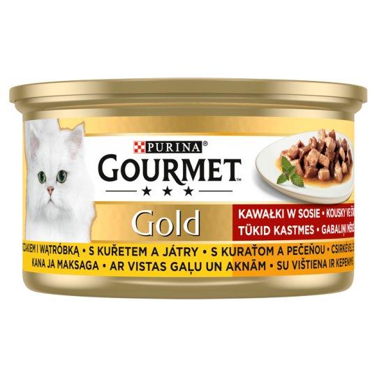 Gourmet Gold Falatok Szószban nedves macskaeledel csirkével és májjal 85 g