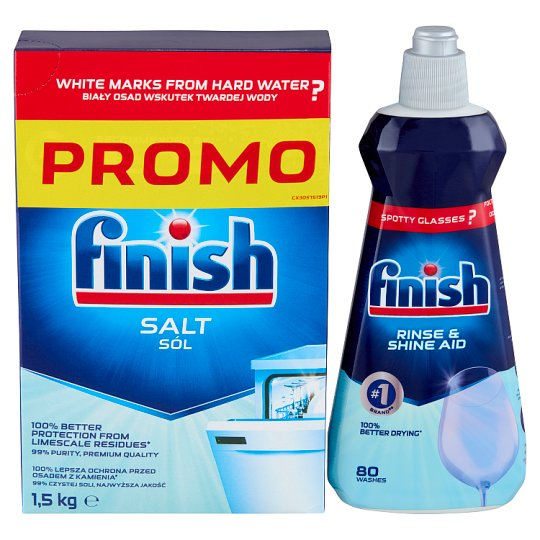 Finish Water Softener Salt 1,5 kg + Rinse Aid 400 ml