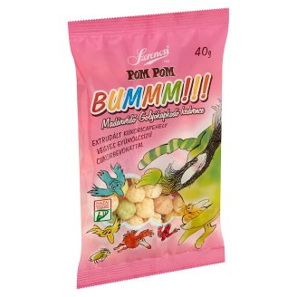 Szerencsi Pom Pom Bummm!!! Extruded Corn Flakes with Mix Fruit Flavoured Sugar Coating 40 g