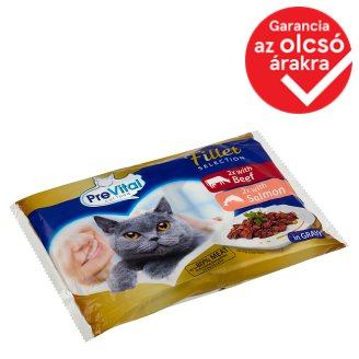 PreVital Complete Food for Adult Cats with Beef and Salmon in Gravy 4 x 85 g