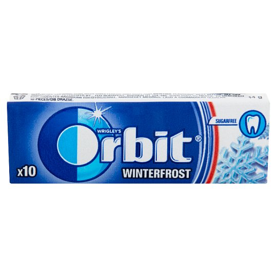 Orbit Winterfrost Sugar-Free Mint and Menthol Flavoured Chewing Gum with Sweeteners 10 pcs 14 g