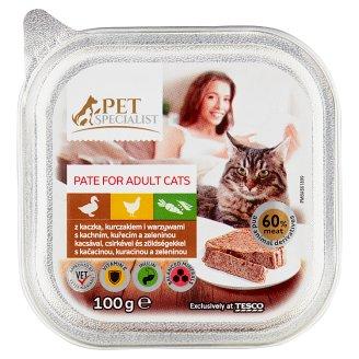 Tesco Pet Specialist teljes értékű eledel felnőtt macskáknak kacsával, csirkével, zöldségekkel 100 g