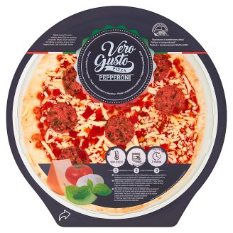 Vero Gusto Pizza with Mozzarella and Cheddar Cheese, Pepperoni Salami and Paprika 355 g