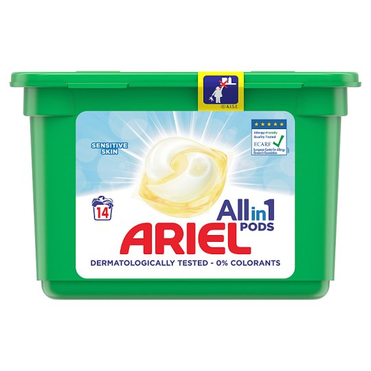 Ariel 3in1 Pods Washing Capsules Sensitive Gentle Formula 14 Washes