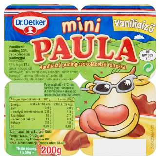 Dr. Oetker Paula Mini Vanilla Flavoured Pudding with Chocolate Flavoured Pudding 4 x 50 g