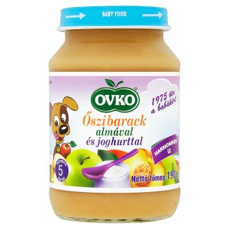 Ovko gluténmentes őszibarack almával és joghurttal bébidesszert 5 hónapos kortól 190 g