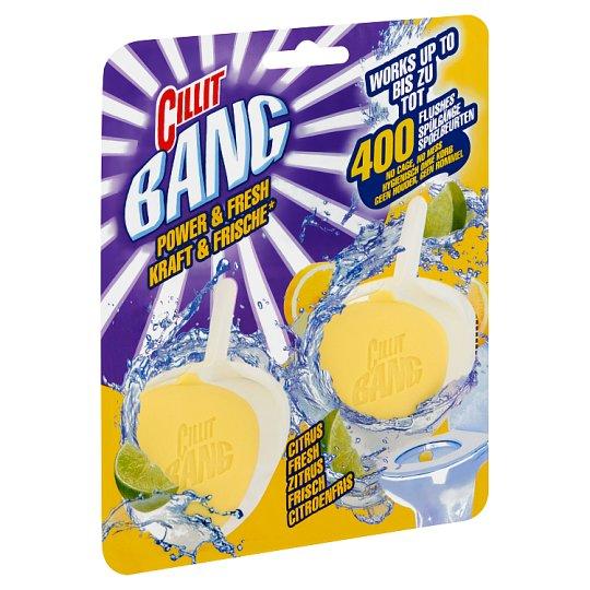 Cillit Bang Power & Fresh Citrus Fresh tok nélküli WC blokk friss nyári gyümölcs illattal 2 x 40 g