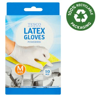 Tesco Powdered Latex Gloves M Size 10 pcs