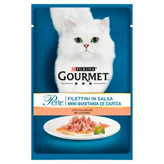 Gourmet Perle Complete Pet Food for Adult Cats Salmon Chunks in Gravy 85 g