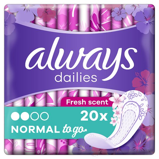 Always Dailies Singles To Go Fresh Panty Liners x 20
