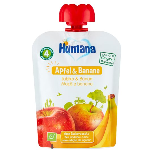Humana 100% Organic Apple & Banana after 4. Months Onwards Mousse 90 g