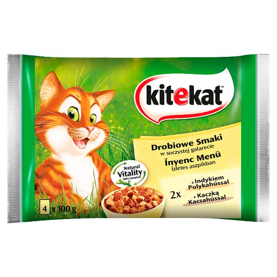 Kitekat Poultry Flavors in a Juicy Jelly Complete Cat Food 400 g (4 x 100 g)