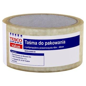 Tesco Value Transparent Polypropylene Packaging Tape 40 m x 48 mm