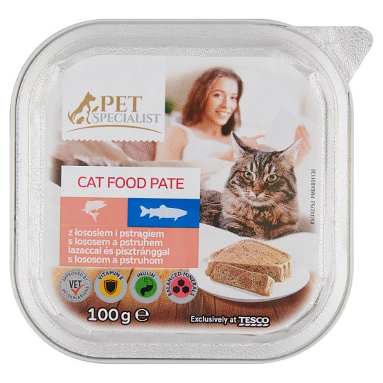 Tesco Pet Specialist Pate with Salmon and Trout Food for Adult Cats 100 g