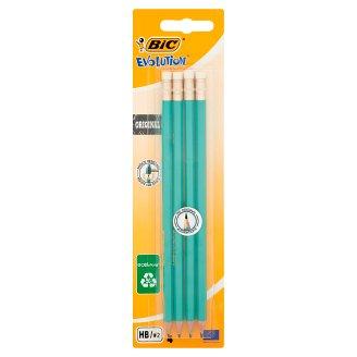 BiC Evolution Original Bezdrzewny ołówek grafitowy z gumką HB 4 sztuki