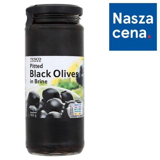 Tesco Pitted Black Olives in Brine 330 g