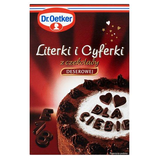 Dr. Oetker Literki i cyferki z czekolady deserowej 60 g (82 sztuki)
