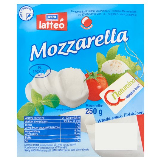 OSM Grodzisk Mazowiecki latteó Natural Mozzarella Cheese 250 g