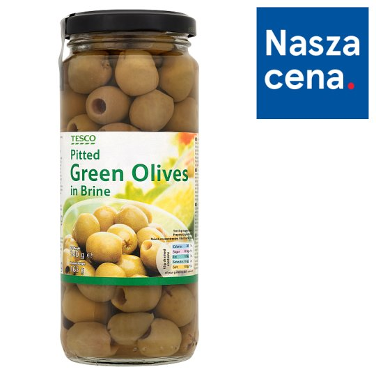 Tesco Pitted Green Olives in Brine 340 g