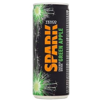 Tesco Spark Gazowany napój energetyzujący o smaku zielonego jabłka 250 ml