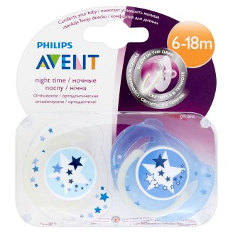 Avent Night Time Soothers 6-18 Months 2 Pieces