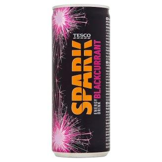 Tesco Spark Gazowany napój energetyzujący o smaku czarnej porzeczki 250 ml