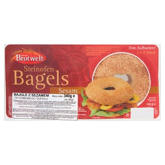 Aldente's Brotwelt Sesame Bagels for Home Baking 340 g (4 Pieces)