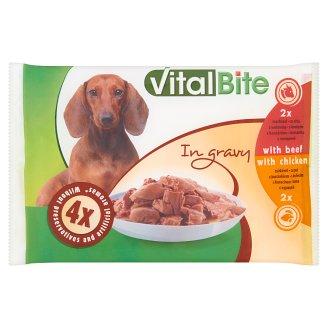 VitalBite Karma dla psów z wołowiną i z kurczakiem w sosie 4 x 85 g