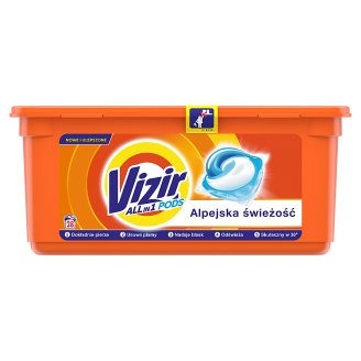 Vizir Washing Capsules Alpine Fresh Triple Action: Cleans Deep, Removes Stains & Brightens 28 Washes