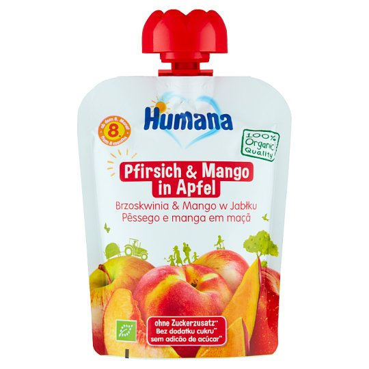 Humana 100% Organic Apple-Peach-Mango after 8 Months Onwards Mousse 90 g