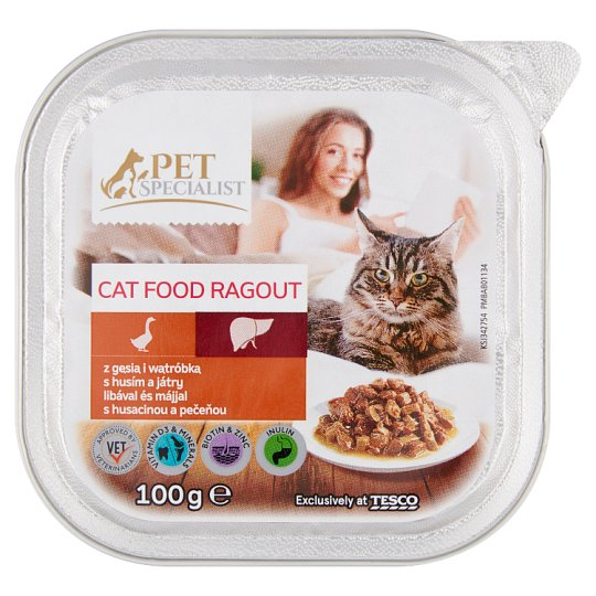 Tesco Pet Specialist  Ragout with Goose and Liver Food for Adult Cats 100 g
