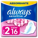Always Sensitive Long Ultra (Size 2) Sanitary Towels Wings 16 Pads