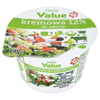 Tesco Value Kremowa do sałatek 12% Ukwaszona emulsja tłuszczowa 200 g