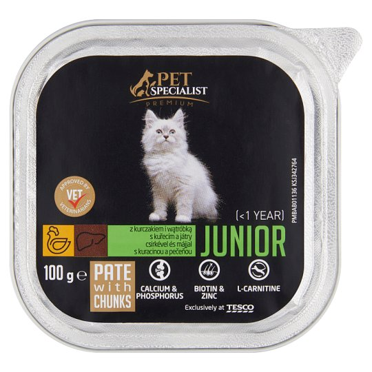 Tesco Pet Specialist Premium Pate with Chicken and Liver Food for Junior Cats 100 g