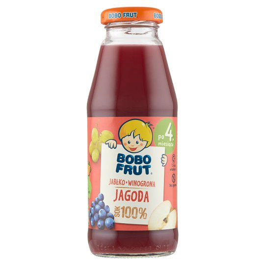 Bobo Frut 100% Sok jabłko winogrona i jagody po 4 miesiącu 300 ml
