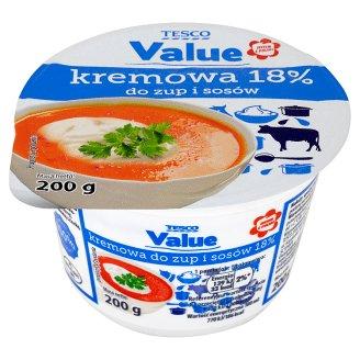 Tesco Value Kremowa do zup i sosów Ukwaszona emulsja tłuszczowa 18% 200 g