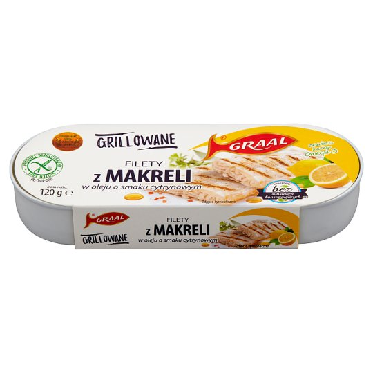 GRAAL Grilled Mackerel Fillets in Lemon Flavoured Oil 120 g