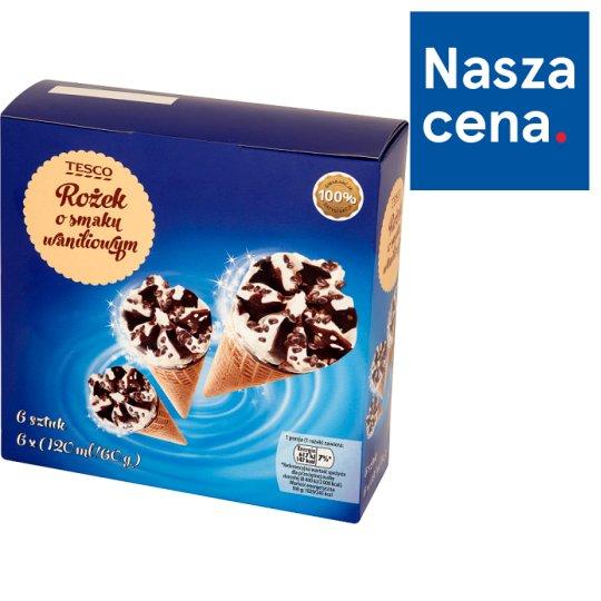 Tesco Waffle Cone Vanilla Flavored Ice Cream 6 x 120 ml