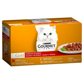 Gourmet Gold Pieces in Sauce Complete Food for Adult Cats 340 g (4 x 85 g)