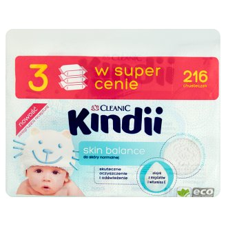 Cleanic Kindii Skin Balance Wipes for Normal Skin 216 Pieces