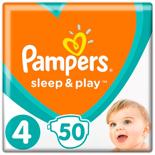 Pampers Sleep & Play Size 4, 50 Nappies, 9-14Kg, Trusted Dryness
