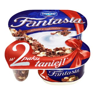 Danone Fantasia Creamy Yoghurt with Flakes in Chocolate 210 g (2 Pieces)