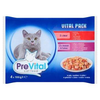 PreVital Vital Pack Karma dla kotów z wołowiną i z królikiem i indykiem w galaretce 4 x 100 g