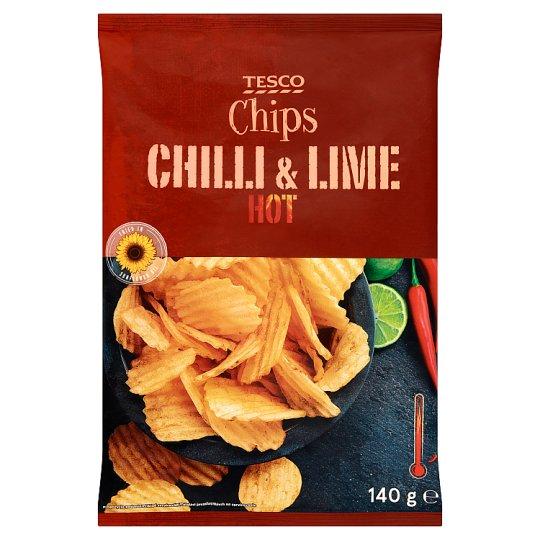 Tesco Hot Chilli & Lime Chips 140 g