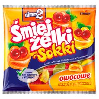 nimm2 Śmiejżelki Sokki Nadziewane żelki owocowe wzbogacone witaminami oraz sokiem owocowym 90 g