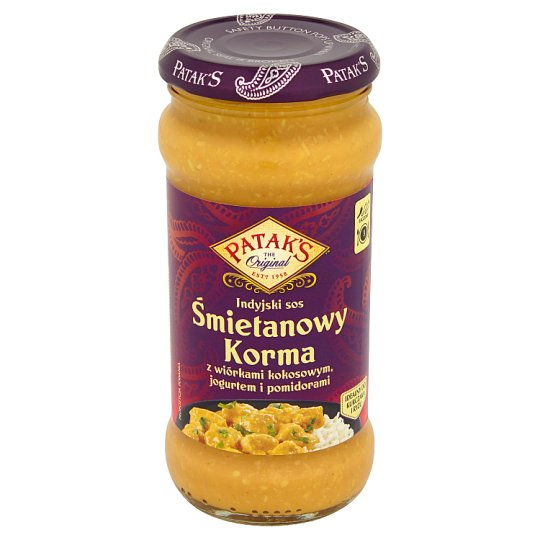 Patak's Cream Indian Sauce Korma with Desiccated Coconut Yoghurt and Tomatoes 350 g