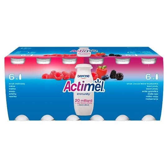 Danone Actimel Mleko fermentowane o smaku malinowym i owoce leśne-truskawka 1,2 kg (12 x 100 g)